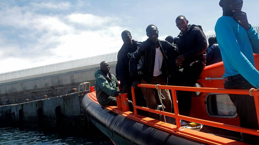 Rescued migrants arrive at the port of Tarifa, Spain, July 28, 2018.