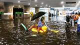 Cooling off? Swedes turn flooded station into swimming pool