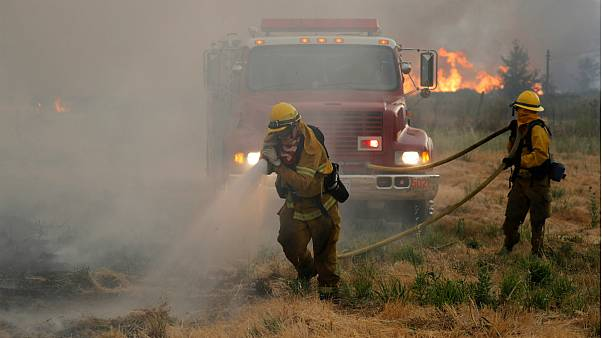 Bombeiros desdobram-se no combate a um fogo galopante