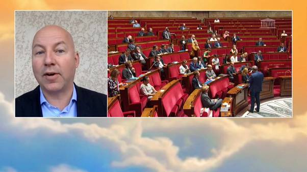Stefan De Vries on screen with pictures from the French Parliament