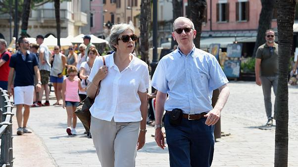 Theresa May and her husband Philip in Desenzano del Garda, Italy