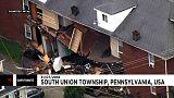 شاهد: انهيار جزئي لمبنى في ولاية بنسلفانيا بفعل الرياح