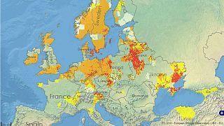 تصاویر فضاپیمای کوپرنیک از وسعت خشکسالی در اروپا و احتمال آتشسوزی