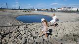 The partially dried riverbed of Rhine in Dusseldorf, Germany on July 31.