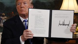 President Trump orders the US withdrawal from the Iran nuclear deal, May 8