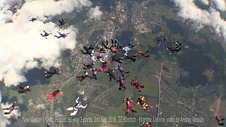 Watch: Female skydivers set world record in Ukraine