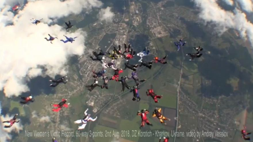 Watch: Female skydivers set world record in Ukraine