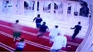 Watch: Worshippers flee from Bali mosque moments before debris falls during earthquake