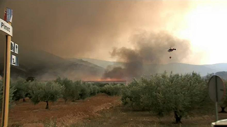 Firefighers struggle to contain wildfires in Spain and Portugal
