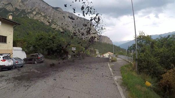 فوران گل و لجن در جنوب سوئیس پس از رانش زمین