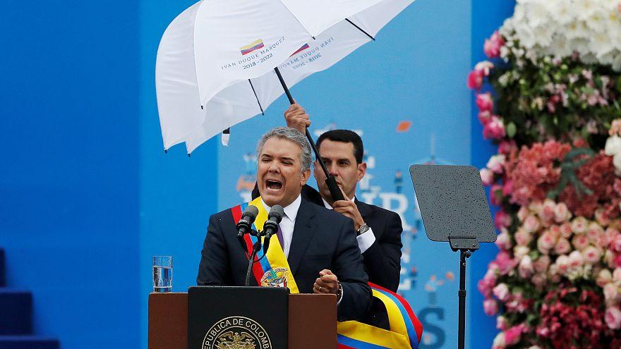 رئيس كولومبيا الجديد إيفان دوكي في كلة خلال حفل تنصيبه في 7/8/2018