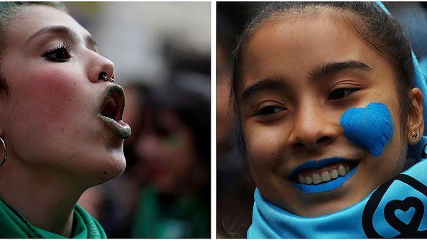 En imágenes, protestas a favor y contra el aborto tiñen Buenos Aires de verde y celeste