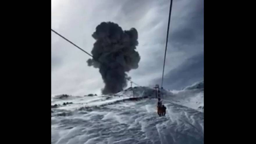 Watch: Volcanic eruption caught on camera … from a ski lift!