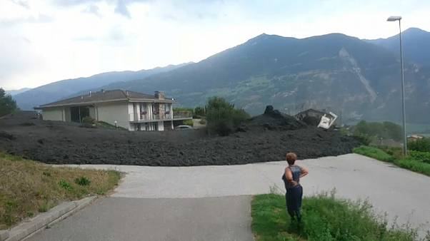 Mudslide through the village Chamoson in the canton Valais