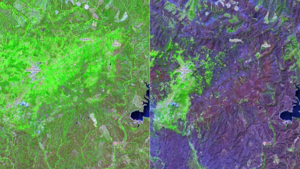 Before-and-after satellite pictures reveal extent of huge Portugal wildfire