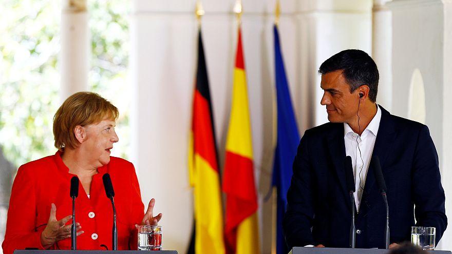 Merkel und Sanchéz bei ihrem Treffen in Südspanien