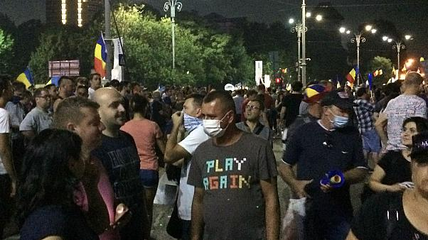 Watch: Protesters' panic as tear gas is fired during anti-government rally in Bucharest