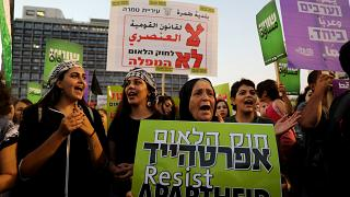 """Yahudi ulus devleti"" yasası protestosunda Filistin bayrağı tartışması"