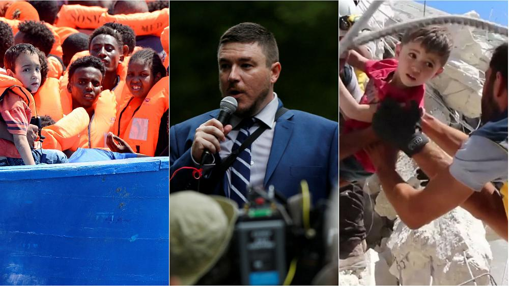 Live: Migrants marooned; US far-right rally; and children killed in Syria blast
