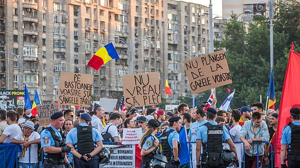 Protestors in Bucharest