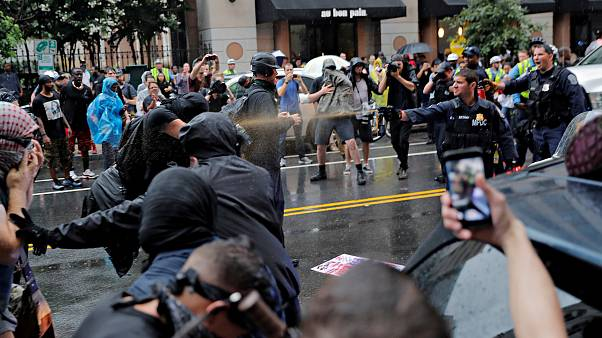 Counter-protesters clash with police in Washington, DC.