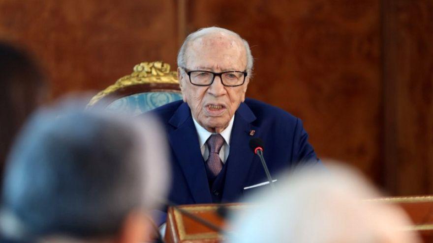 الرئيس التونسي الباجي قائد السبسي في العاصمة تونس يوم 25 مايو أيار 2018.