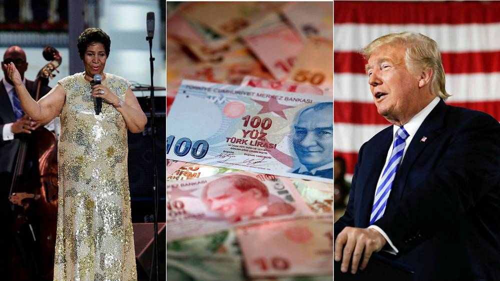 Live: Aretha Franklin ill, Turkey currency, Trump tweets over former aide