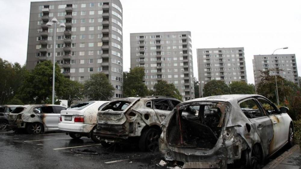 Cars set alight by youths during rampage across Sweden