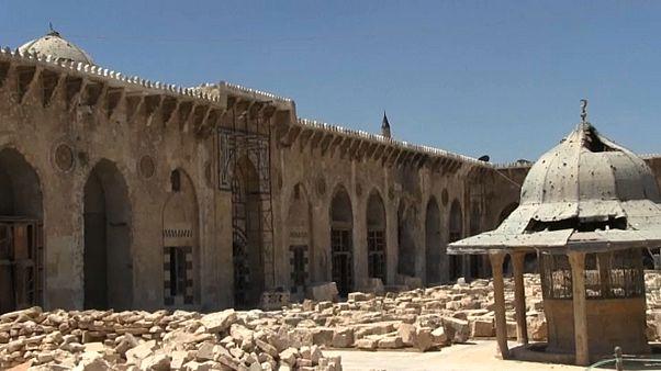 شاهد: استمرار عملية ترميم الجامع الأموي الكبير في حلب