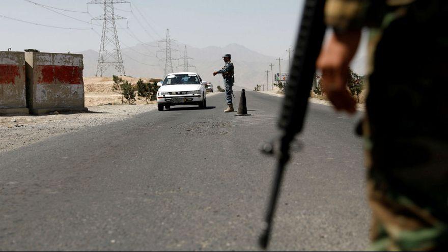 An Afghan police checkpoint