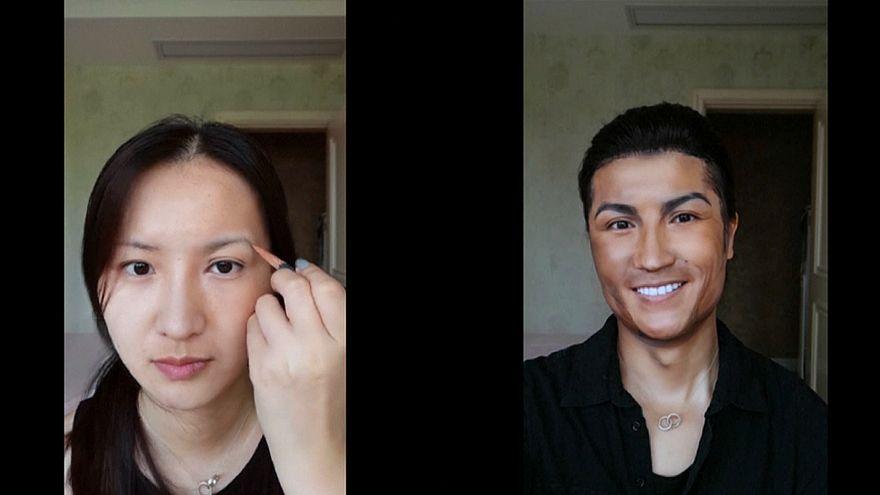 Maquilhadora chinesa é a cara chapada de Cristiano Ronaldo