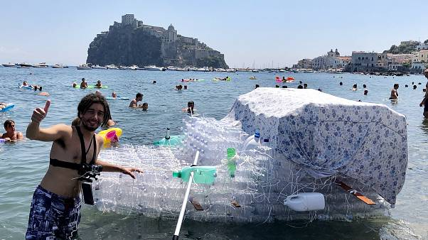 Plastic bottle raft helps highlight marine pollution problem in Italy