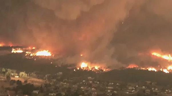 California firefighters battle tornado blaze