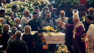 Mourners attend a state funeral for victims of the Genoa bridge collapse