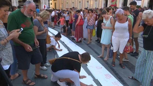 Manifestación silenciosa en Génova por las víctimas del puente Morandi