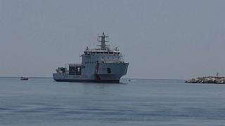 Italian coastguard ship with rescued migrants to dock in Sicily