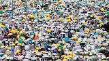 شاهد: حشود الحجاج الهائلة تصلي على جبل عرفة أثناء فريضة الحج