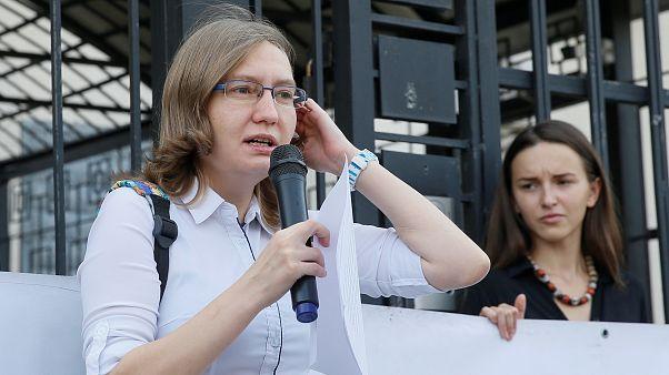 Natalia Kaplan durante una protesta en Kiev