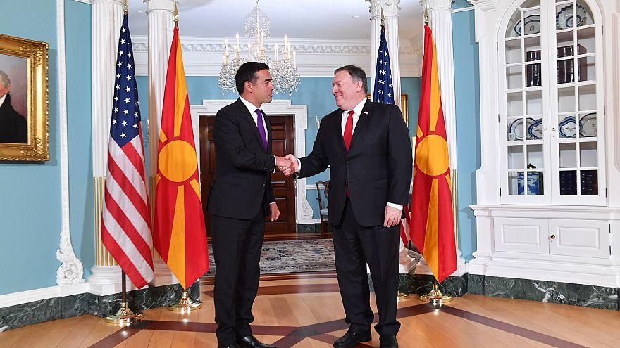 Μάικ Πομπέο και Νίκολα Ντιμιτρόφ στο Υπουργείο Εξωτερικών των Η.Π.Α.