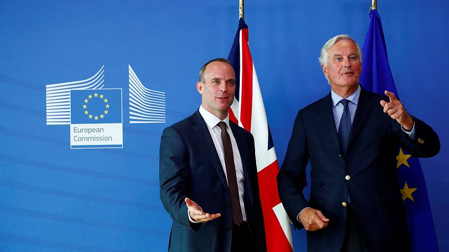 UK Brexit Secretary Dominic Raab and EU's Chief Negotiator Michel Barnier