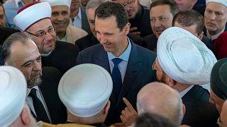 Watch: Syria's Bashar al-Assad attends morning prayers