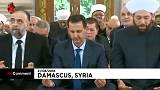 Al Asad reza en la Fiesta del Sacrificio