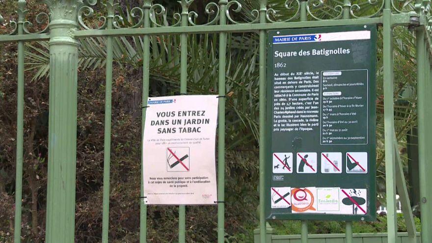 Campanha contra tabaco nos jardins de Paris