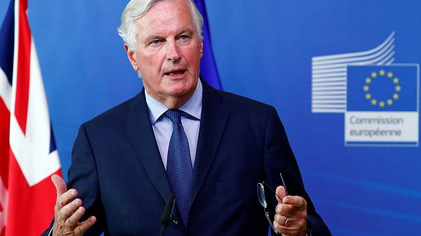 EU Chief Negotiator Michel Barnier at a meeting with UK Brexit Secretary