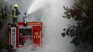 Firefighters help to put out a forest fire near Treuenbrietzen, Germany