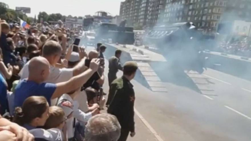 Watch: Russian vintage military tank topples at parade