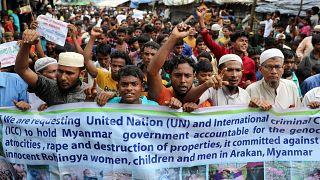 Musulmans rohingyas demandent justice à l'ONU en Birmanie.
