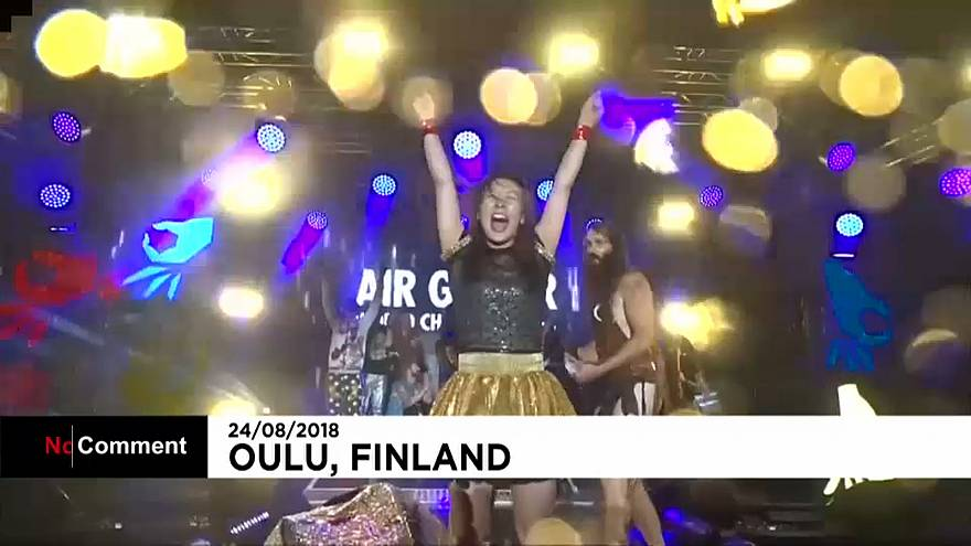 Japanese performer rocks out to win air guitar world championship