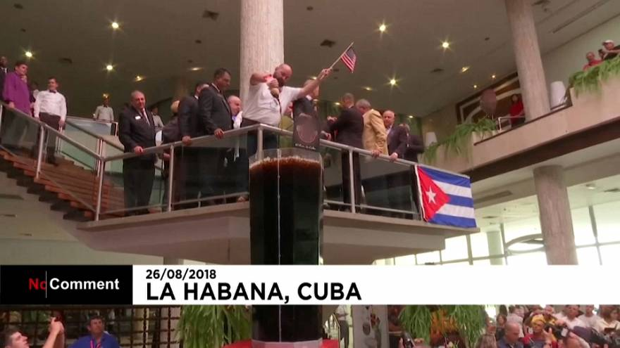 Bartenders from the Americas make giant Cuba Libre in Havana