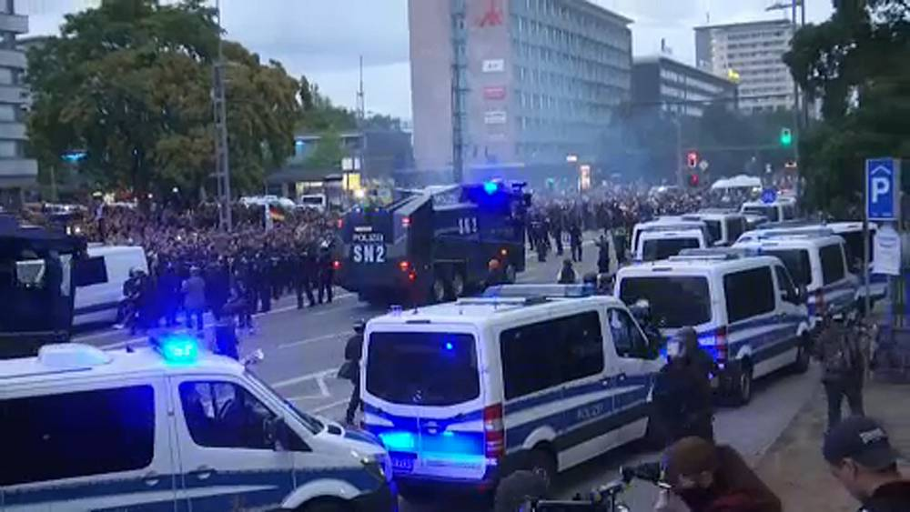 Thousands of far-right protesters gather in east German city